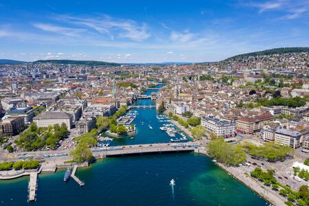 Photo for Aerial view of Zurich  city in Switzerland - Royalty Free Image