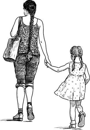 Illustration for Vector drawing of an young mother with her daughter on a walk. - Royalty Free Image