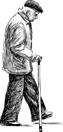 Illustration for Vector drawing of an old man on a stroll. - Royalty Free Image