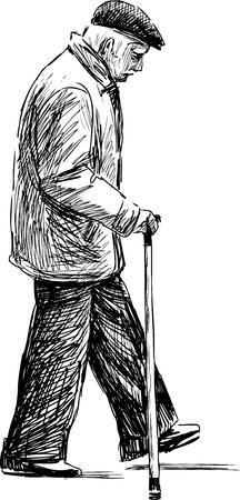 Ilustración de Vector drawing of an old man on a stroll. - Imagen libre de derechos