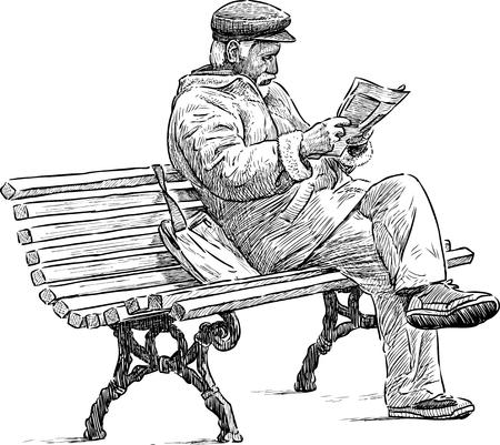 Illustration pour An old man reads a newspaper on the park bench - image libre de droit