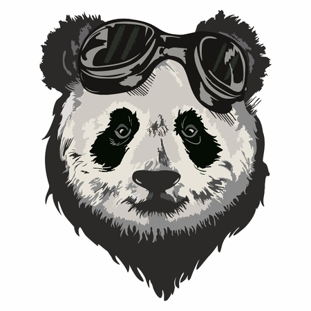 Black and white vector sketch of a Giant Panda's face