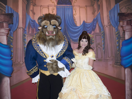 New York, NY, USA - September 18, 2016: Beauty and The Beast characters pose for a photo at the 'Beauty and The Beast' 25th Anniversary Screening at Alice Tully Hall, Lincoln Center, Manhattan