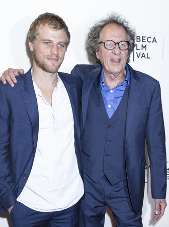 NEW YORK, NY , USA - APRIL 20: Actors Johnny Flynn and Geoffrey Rush attend National Geographic's 'Genius' Premiere during the 2017 Tribeca Film Festival at BMCC Tribeca PAC, Manhattan