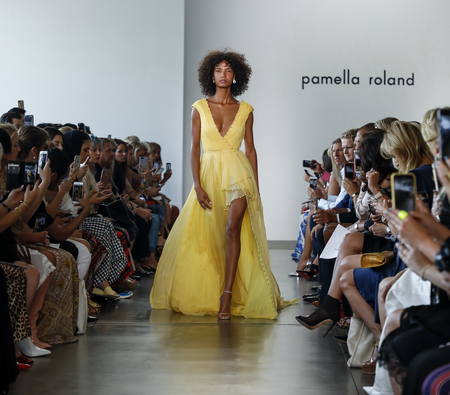 New York, NY, USA - September 6, 2018: A model walks runway for the Pamella Roland Spring/Summer 2019 runway show during New York Fashion Week at Pier 59 Studuos, Manhattan