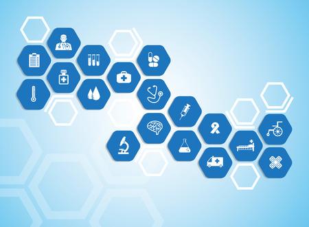 Ilustración de Medical background and icons to treat patients. - Imagen libre de derechos