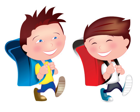 Illustration pour Two kids young boys who are best friends are so happy walking on the street from home, having fun, laughing on their way going to school. - image libre de droit
