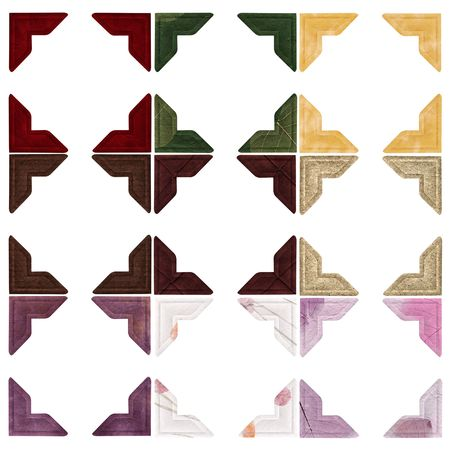 Nine sets of photo corners in different colours and textures - Red velvet, green paper with leaves, gold velvet, dark brown natural paper, dark brown faux suede, light brown natural paper, purple aged material, white natural paper with flower pieces, purp