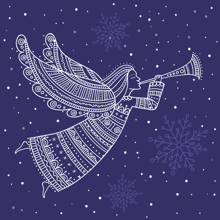 Illustration pour Angel with horn and snow in night sky with stars vector - image libre de droit