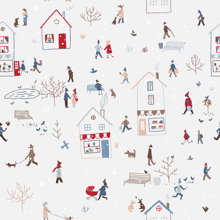 Illustration pour Vector winter seamless pattern with people walking in snowy Christmas city with houses, dog, tree, birds, snow. Can be printed and used as New Year wrapping paper, wallpaper, textile, etc.   - image libre de droit