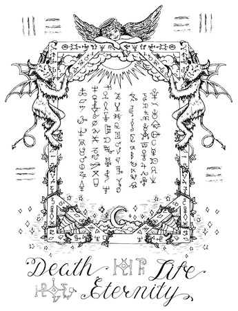 Illustration pour Gothic frame or magic border with angel and demons, heaven and hell religious background. Sketch illustration with mystic and occult hand drawn symbols. Halloween and esoteric concept - image libre de droit
