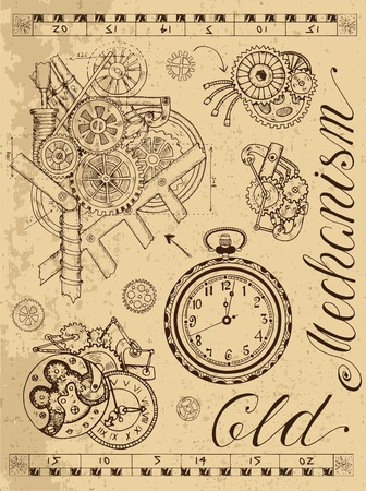 Old mechanism of clock in steampunk style on textured background. Hand drawn graphic illustration, sketch tattoo, retro technology collection with lettering, cogs, gear and wheels