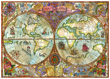 Vintage illustration with world atlas map on antique paper. Pirate adventures, treasure hunt and old transportation concept. Grunge textured background with graphic drawings and mystic symbols