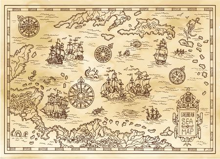 Illustration for Ancient pirate map of the Caribbean Sea with ships, islands and fantasy creatures. Pirate adventures, treasure hunt and old transportation concept. Hand drawn vector illustration, vintage background - Royalty Free Image