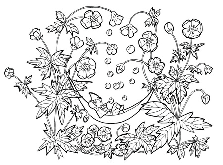 Illustration pour Vector drawing of funny gnome in hammock blowing bubbles in anemone flowers. Black and white cartoon clip art illustration, doodle hand drawn graphic - image libre de droit