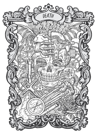 Illustration pour Death. Major Arcana tarot card. The Magic Gate deck. Fantasy engraved vector illustration with occult mysterious symbols and esoteric concept - image libre de droit