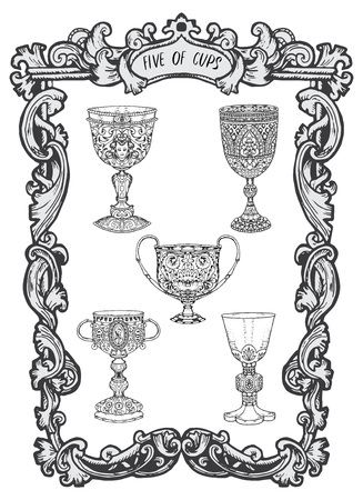 Five of cups. Minor Arcana tarot card. The Magic Gate deck. Fantasy engraved vector illustration with occult mysterious symbols and esoteric concept