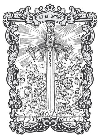 Ilustración de Ace of swords. Minor Arcana tarot card. The Magic Gate deck. Fantasy engraved vector illustration with occult mysterious symbols and esoteric concept - Imagen libre de derechos