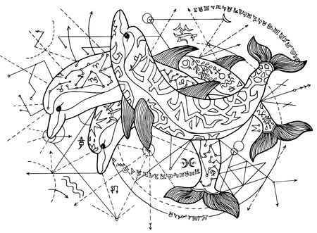 Design Illustration With Three Dolphins Against Mystic