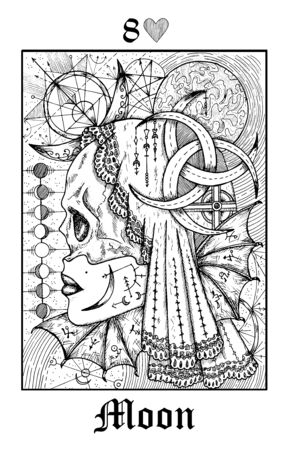 Illustration pour Moon symbol. Tarot card from vector Lenormand Gothic Mysteries oracle deck. Black and white engraved illustration. Fantasy and mystic line art drawing. Gothic, occult and esoteric background - image libre de droit