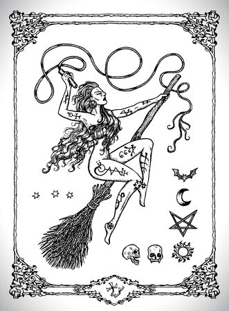 Illustration pour Witch woman on broomstick isolated. Vector line art engraved illustration in gothic style. No foreign language, all symbols are fantasy. Occult, esoteric, Halloween and mystic concept. - image libre de droit