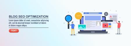 Illustration pour Seo optimization, blog content, digital marketing, social media, marketing people, flat design vector banner. - image libre de droit
