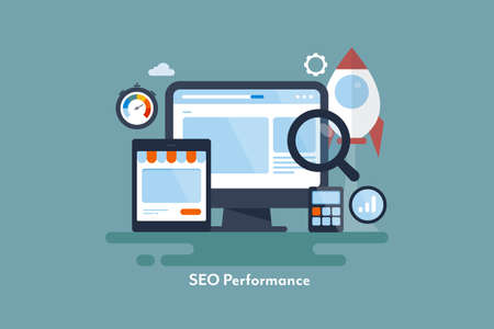 Illustration for Boost website traffic with successful seo strategy. New startup seo optimization concept. - Royalty Free Image