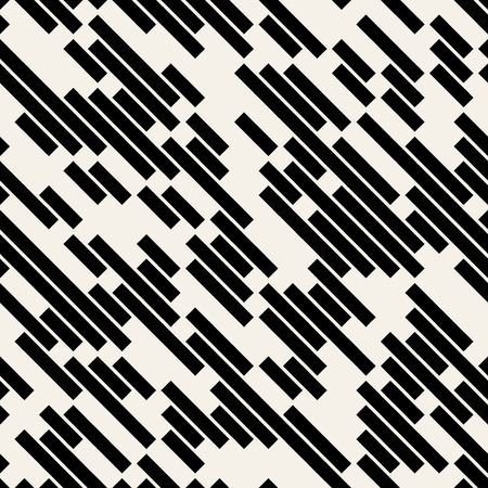 Ilustración de Vector Black and White Diagonal Lines Geometric Seamless Pattern Background, - Imagen libre de derechos