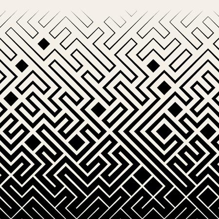 Ilustración de Vector Seamless Black & White Square Maze Lines Halftone Pattern Background - Imagen libre de derechos
