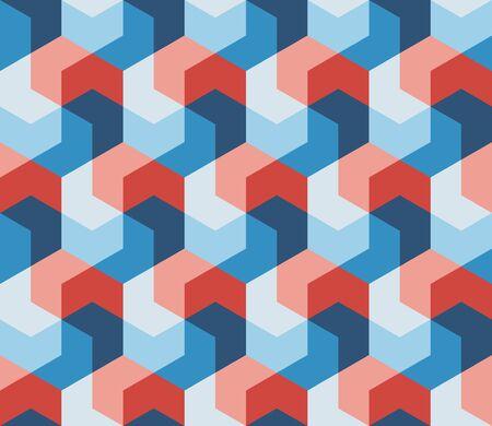 Ilustración de Vector Seamless Hexagonal Shape Geometric Pattern In Pink Red & Blue Abstract Background - Imagen libre de derechos