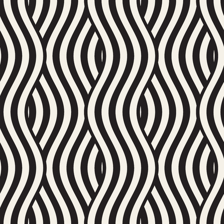 Illustration pour Abstract geometric pattern with wavy lines. Interlacing rounded stripes stylish design. Seamless vector background. - image libre de droit