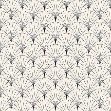 Ilustración de Vector seamless vintage pattern of overlapping arcs in art deco style. Modern stylish abstract texture. Repeating geometric tiles from striped elements  - Imagen libre de derechos