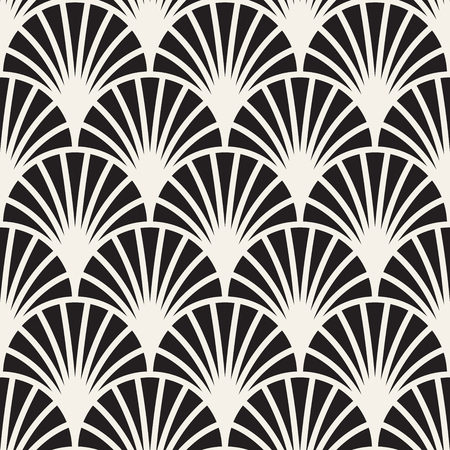 Illustration for Vector seamless vintage pattern of overlapping arcs in art deco style. Modern stylish abstract texture. Repeating geometric tiles from striped elements  - Royalty Free Image