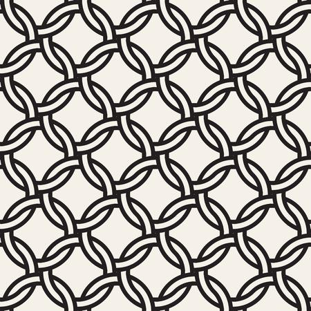 Illustration pour Vector chain seamless pattern. Stylish interweaving texture. Decorative geometric interlaced circle lines background. - image libre de droit