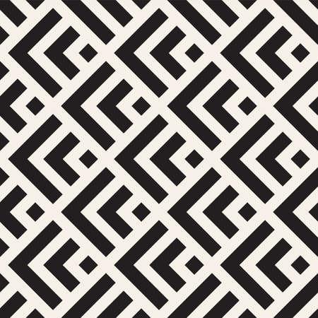 Ilustración de Vector seamless lines mosaic pattern. Modern stylish abstract texture. Repeating geometric tiles with stripe elements - Imagen libre de derechos