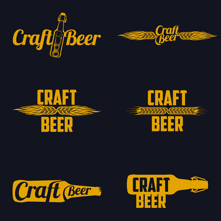 Vintage craft beer brewery, bar, shop emblems and  labels