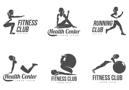 Photo for Workout logo. Fitness, Aerobic and workout exercise in gym. Vector set of workout logo isolated on white background. Fitness equipment - ball. - Royalty Free Image