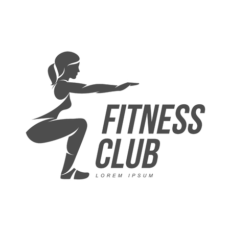 Ilustración de Workout logo. Fitness, Aerobic and workout exercise in gym. Vector set of workout logo isolated on white background. Fitness equipment - ball. - Imagen libre de derechos