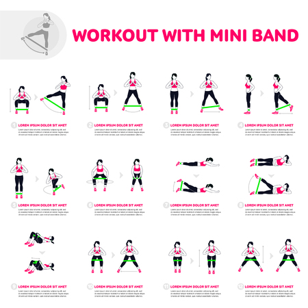 Ilustración de Workout with mini band. Fitness, Aerobic and workout exercise in gym. Vector set of gym icons in flat style isolated on white background. People in gym. Gym equipment. - Imagen libre de derechos