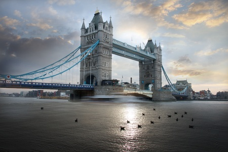 Tower Bridge in the evening in London, UK