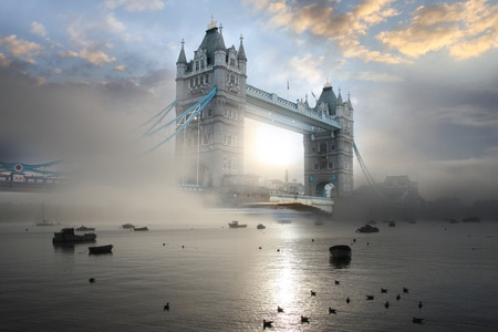 Tower Bridge in foggy morning in London, UK