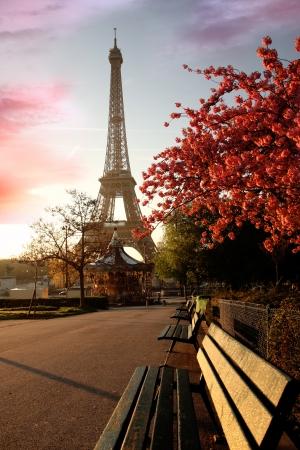 Photo pour Spring morning with Eiffel Tower, Paris, France  - image libre de droit