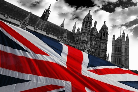 Parliament  with flag of England, London, UK