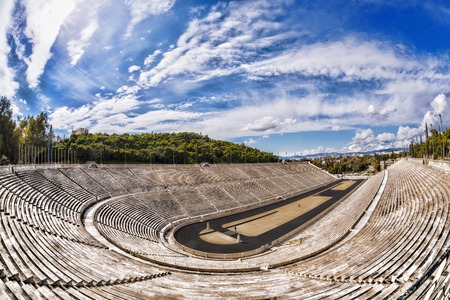 Panathenaic stadium in Athens, Greece (hosted the first modern Olympic Games in 1896