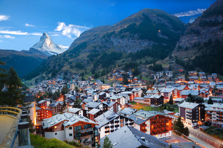 Zermatt village with the peak of the Matterhorn in the Swiss Alps