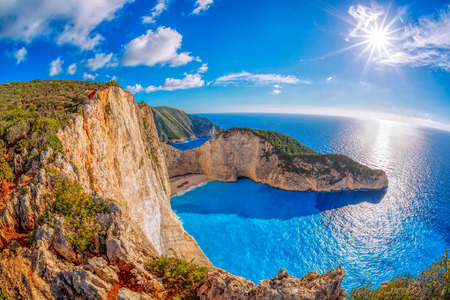 Photo pour Navagio beach with shipwreck against sunset on Zakynthos island in Greece - image libre de droit