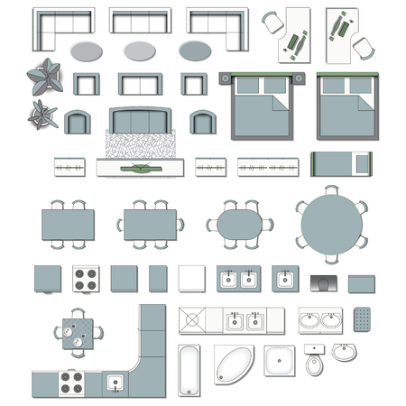 Illustration pour Set top view for interior icon design. Elements for living room,  bedroom, kitchen, bathroom. Floor plan. Furniture store. Vector Illustration. - image libre de droit