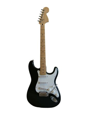 A black electric guitar on a white background