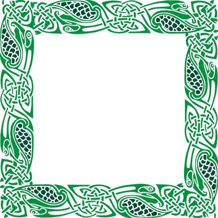 Photo pour Abstract Celtic patterns with flower designs on the border - image libre de droit