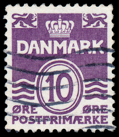 DENMARK - CIRCA 1938: A stamp printed in the Denmark, depicts Wavy Lines and Numeral of Value, circa 1938